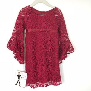 NWT Biscotti Red Floral Lace Bell Sleeve Dress 5